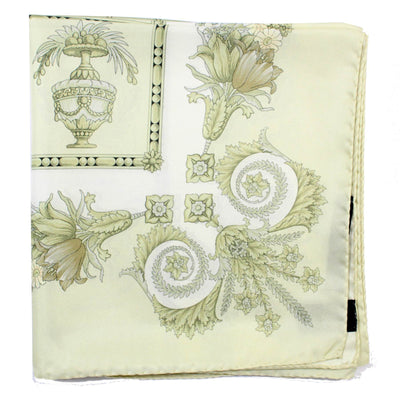 Versace Scarf Light Ceylon Green Baroque  Large Twill Silk Square Scarf
