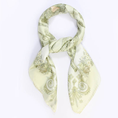 Versace Scarf Light Ceylon Green  Twill Silk Square Scarf