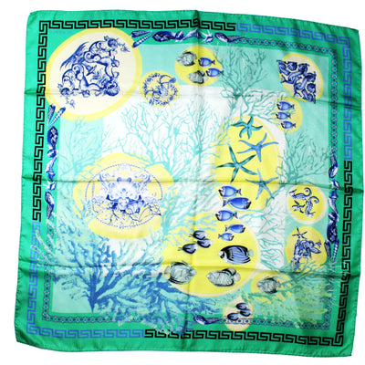 Versace Scarf Green Greek Knit & Fish - Large Twill Silk Square Scarf SALE