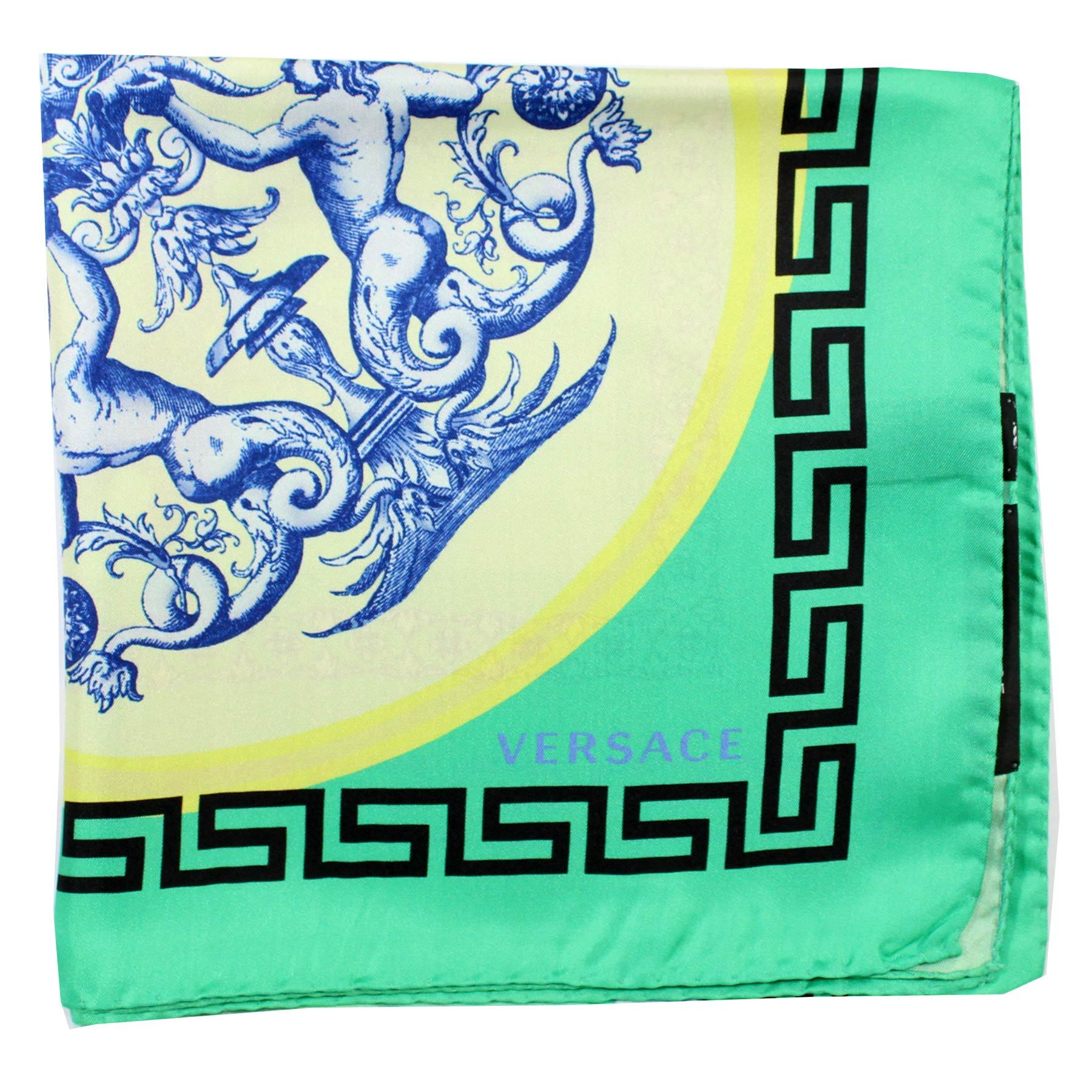 Versace Green Greek Knit & Fish Twill Silk Square Scarf