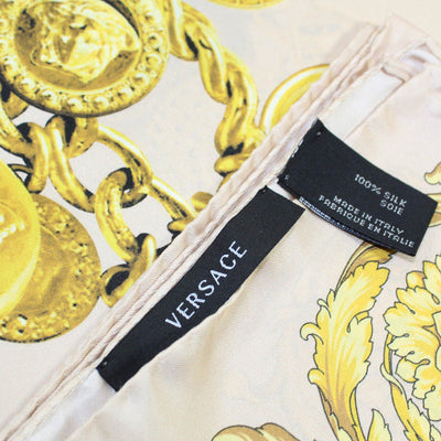Versace Scarf Light Pink Gold Necklace Medusa & Baroque - Large Twill Silk Square Scarf
