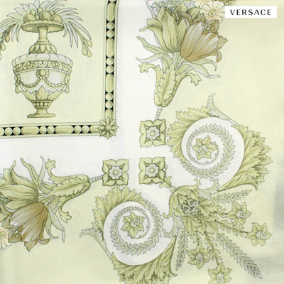 Versace Scarf Light Ceylon Green Baroque & Floral - Large Twill Silk Square Scarf
