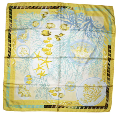 Versace Scarf Yellow Greek Knit & Fish Design - Large Twill Silk Square Scarf SALE