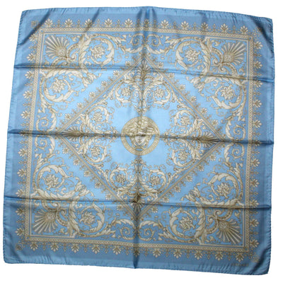 Versace Scarf Blue Taupe Baroque - Large Twill Silk Square Scarf