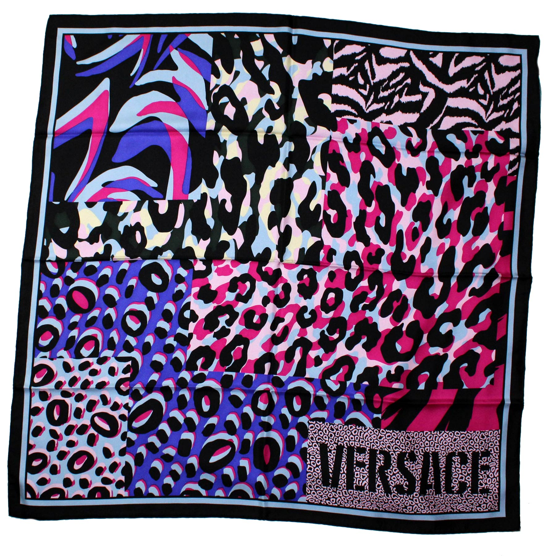 Versace Scarf Black Purple Pink Design
