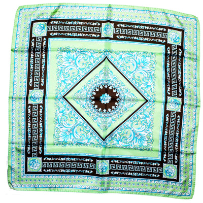 Versace Scarf Green Aqua Brown Baroque - Large Twill Silk Square Scarf