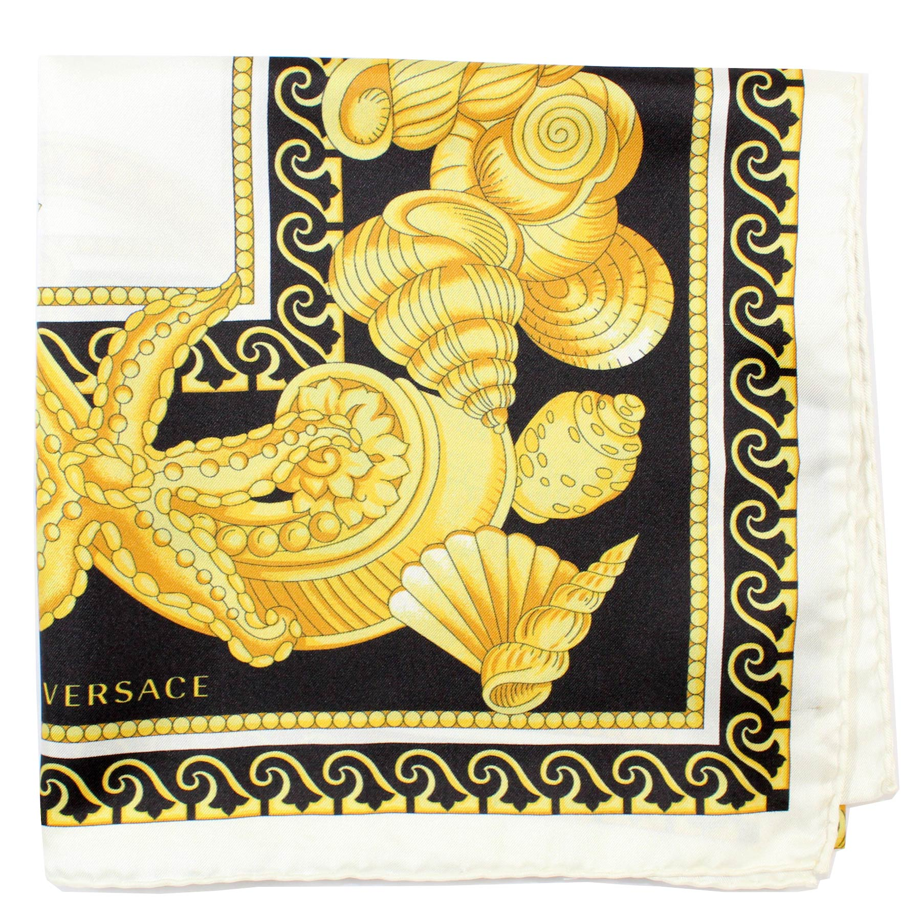 Versace Scarf White Black Gold Shells New