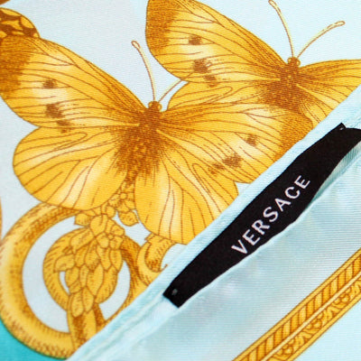 Versace Scarf Sky Blue Aqua Gold Fantasy & Baroque - Large Twill Silk Square Scarf