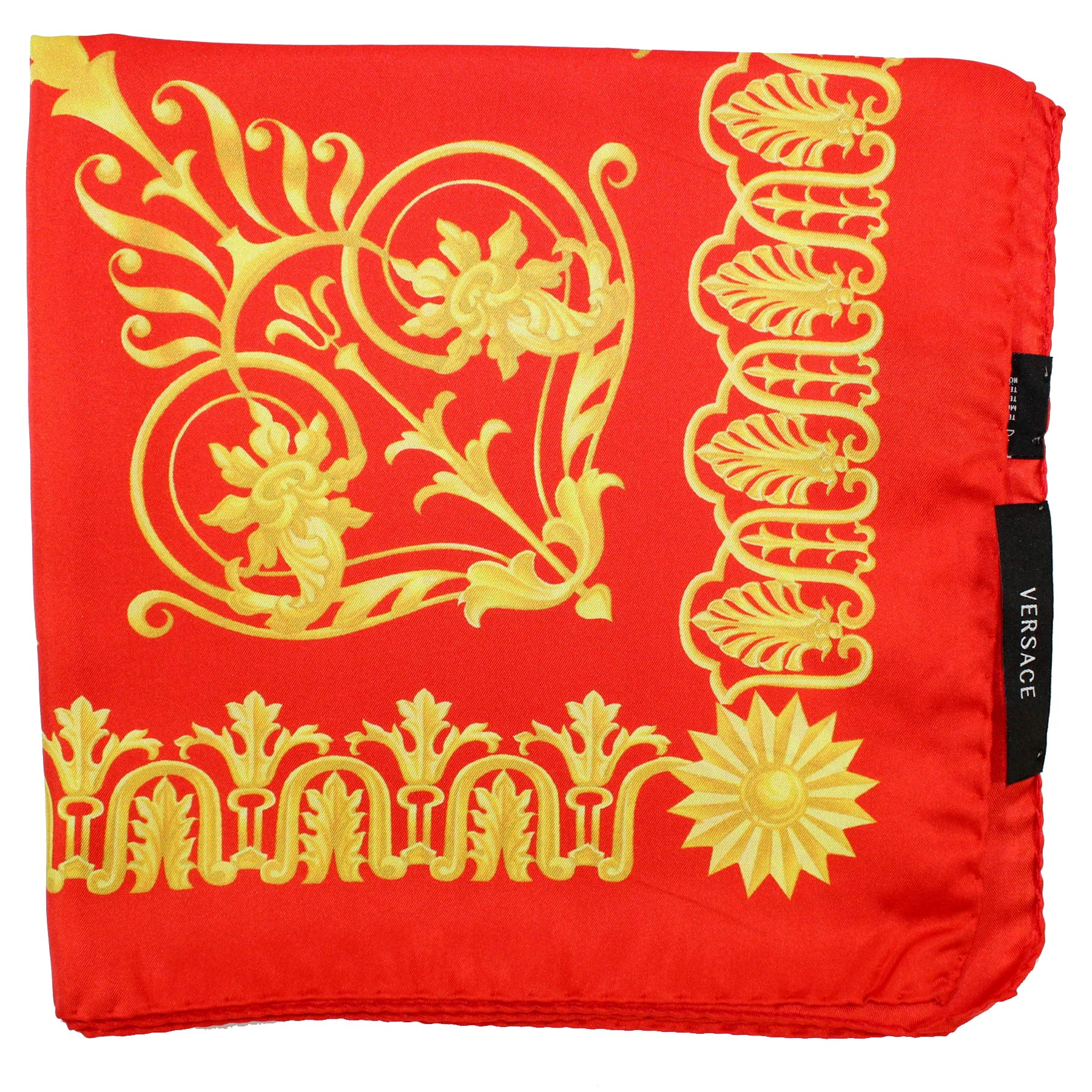 Versace Scarf Red Mustard Gold - Large Twill Silk Square Scarf SALE