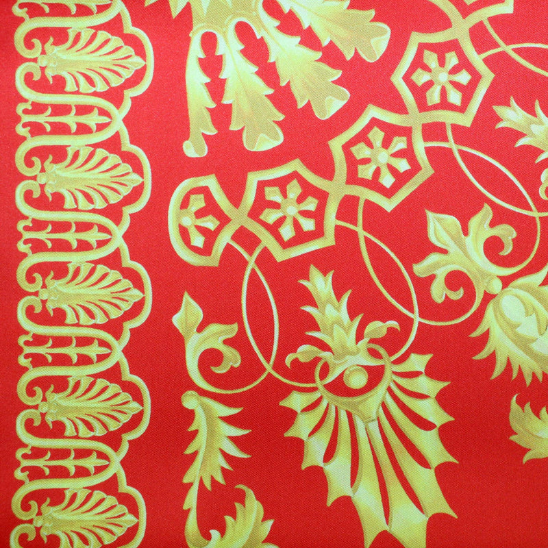 Versace Scarf Red Mustard Gold - Large Twill Silk Square Scarf