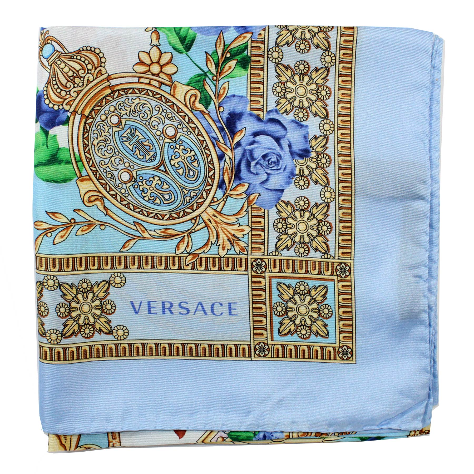 Versace Silk Scarf Blue Floral  Baroque - Large Square Scarf