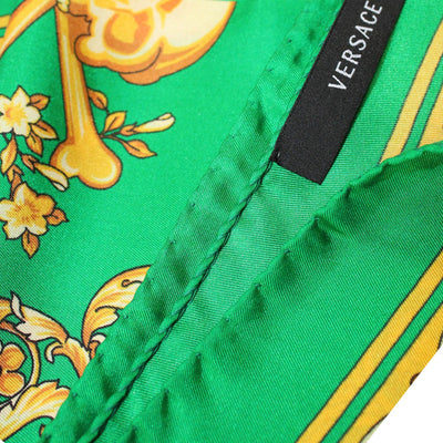 Versace Silk Scarf Green Gold Baroque & Skull - Large Square Scarf