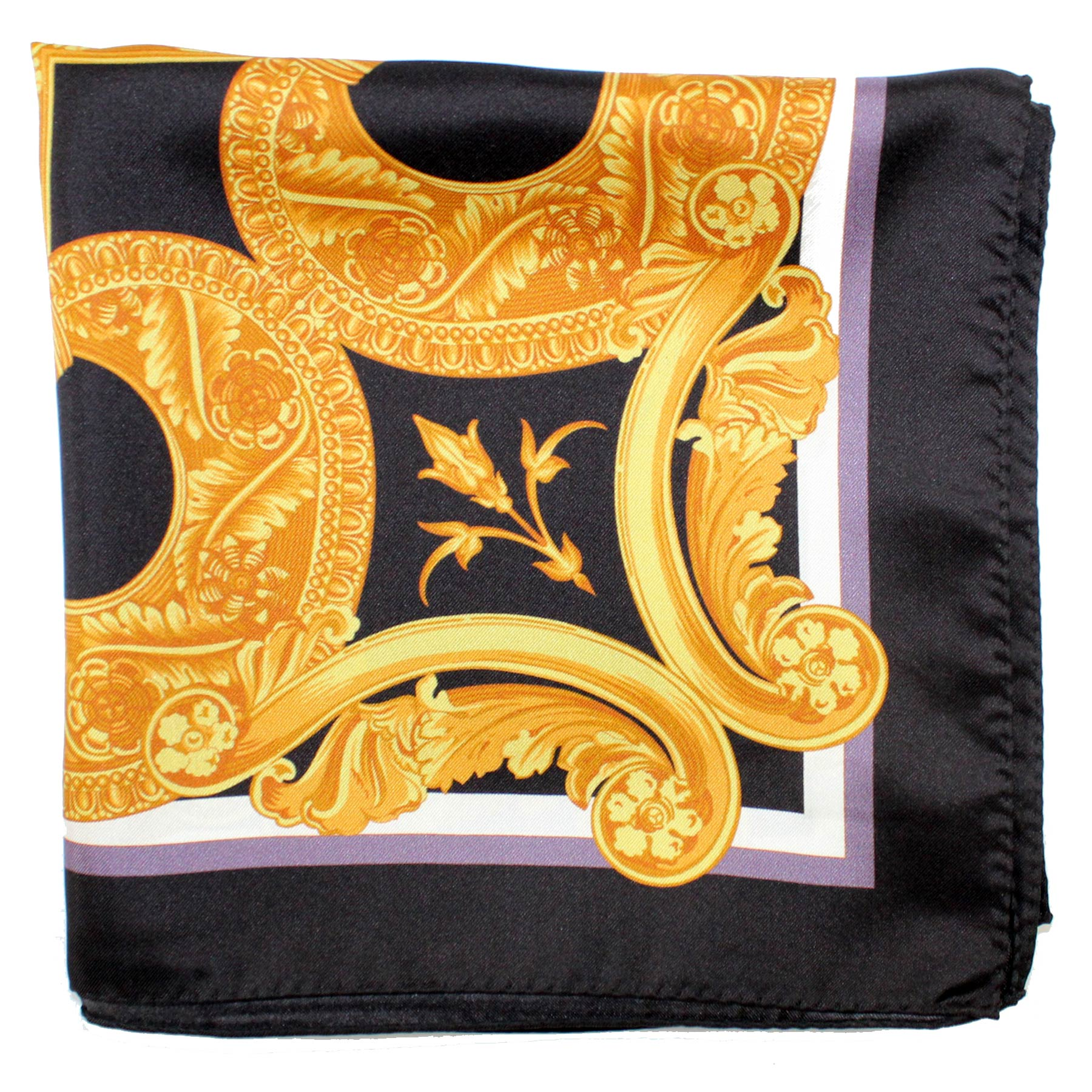 Versace Scarf Black Brown Gold Baroque Square Scarf