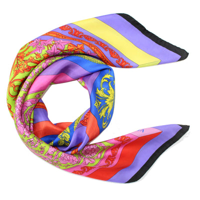 Versace Scarf Four Color Baroque - Large Twill Silk Square Scarf