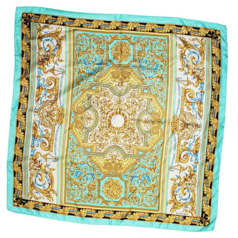 Versace Scarf Mint Gold Baroque - Large Twill Silk Square Scarf