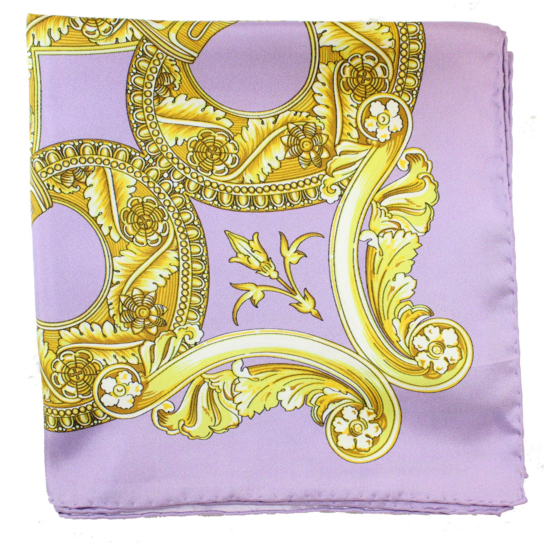 Versace Scarf Lilac Gold Baroque Medusa -  Square Scarf