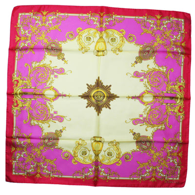 Versace Scarf Pink Yellow Gold Baroque - Large Twill Silk Square Scarf