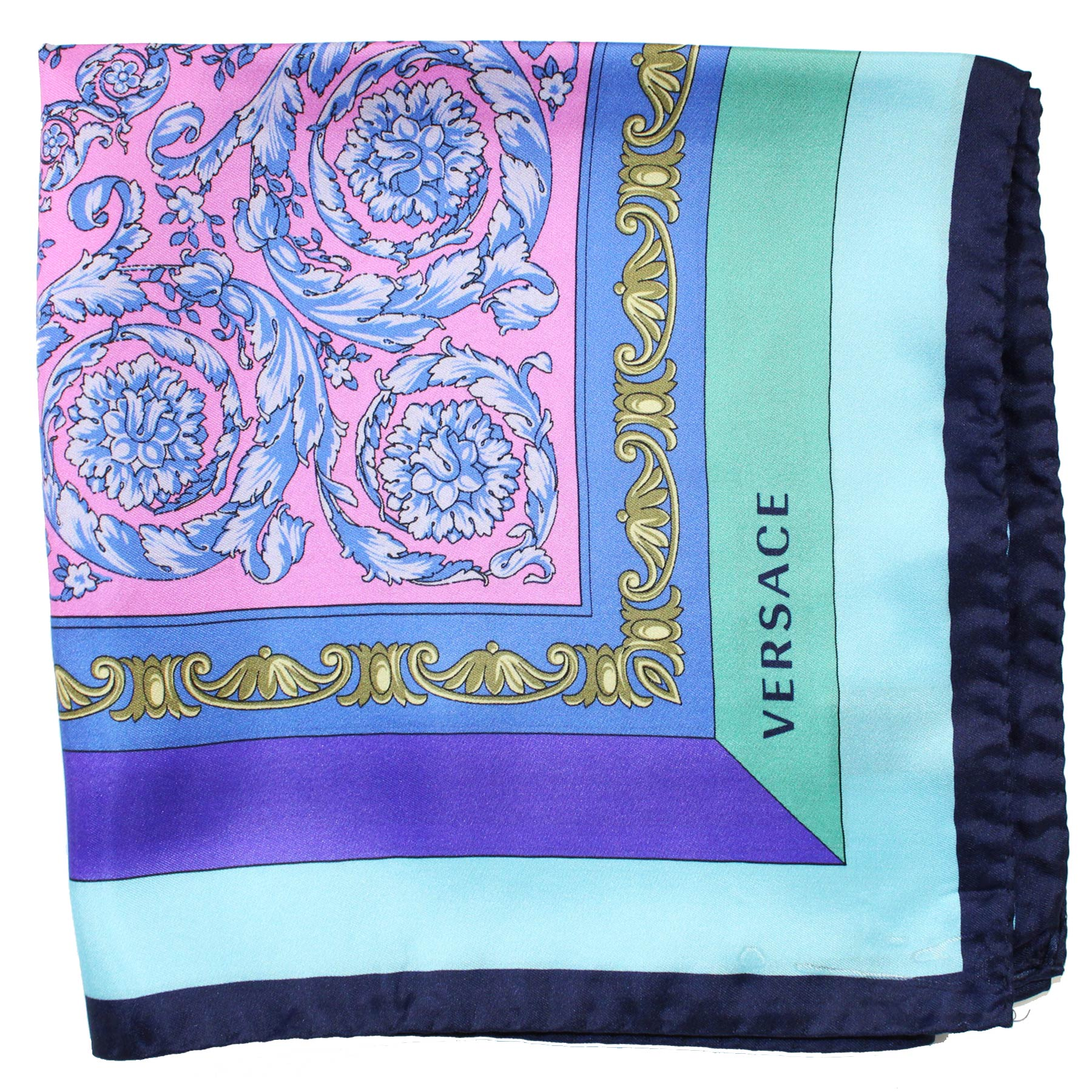 Versace Silk Scarf Four Color Baroque - Large Square Scarf