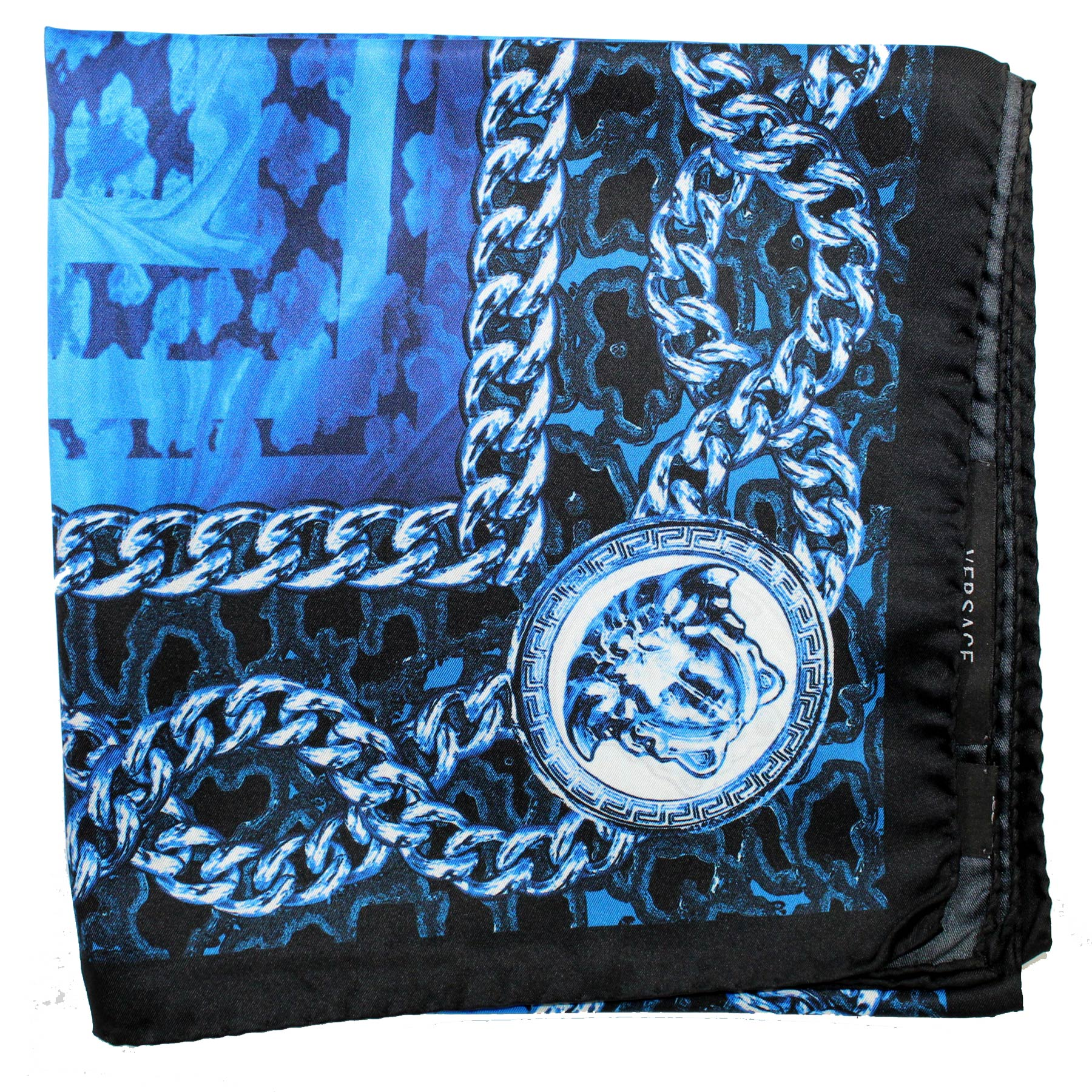 Versace Scarf Dark Blue Chain & Medusa - Large Twill Silk Square Scarf