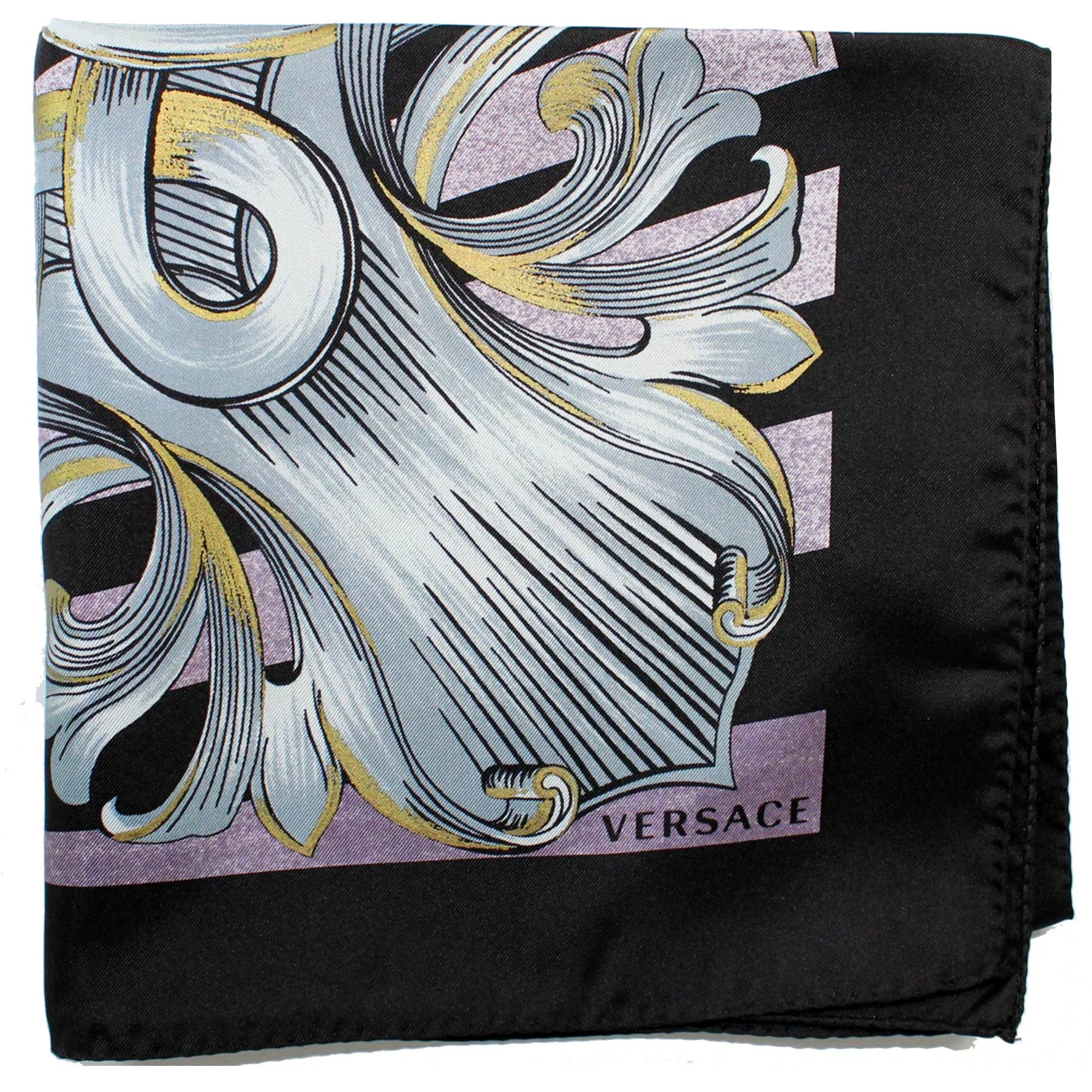 Versace Silk Scarf Black Gray Baroque