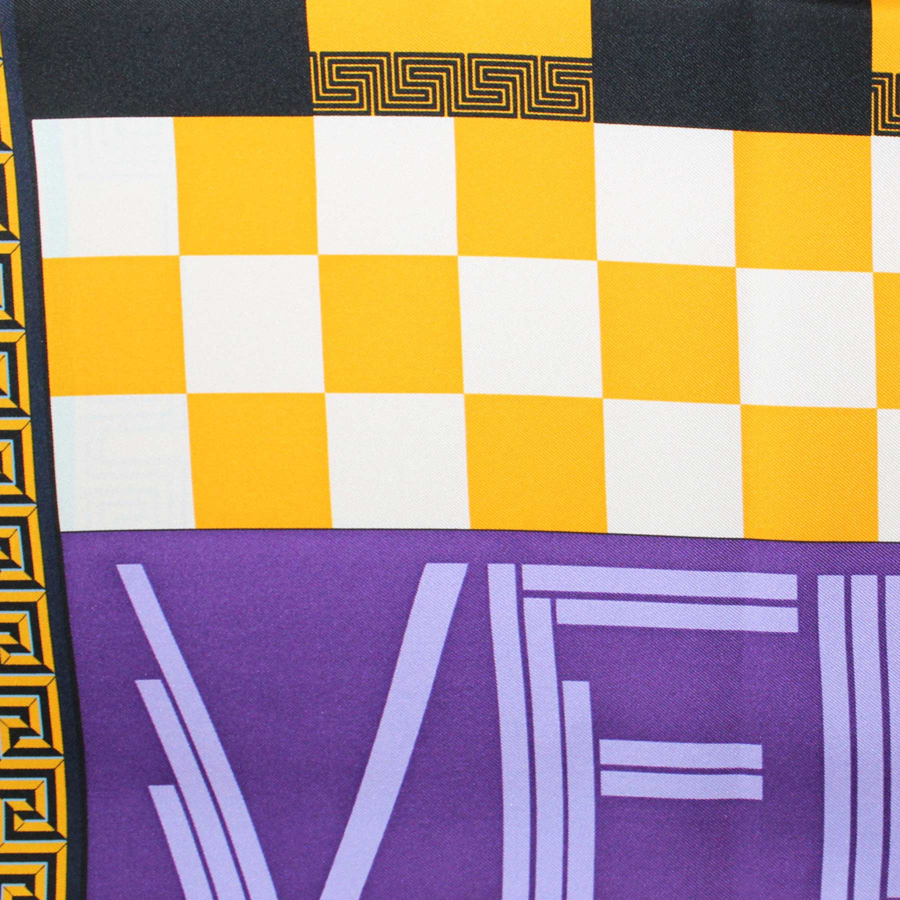 Versace Silk Scarf Greek Knit Design - Large Square Scarf