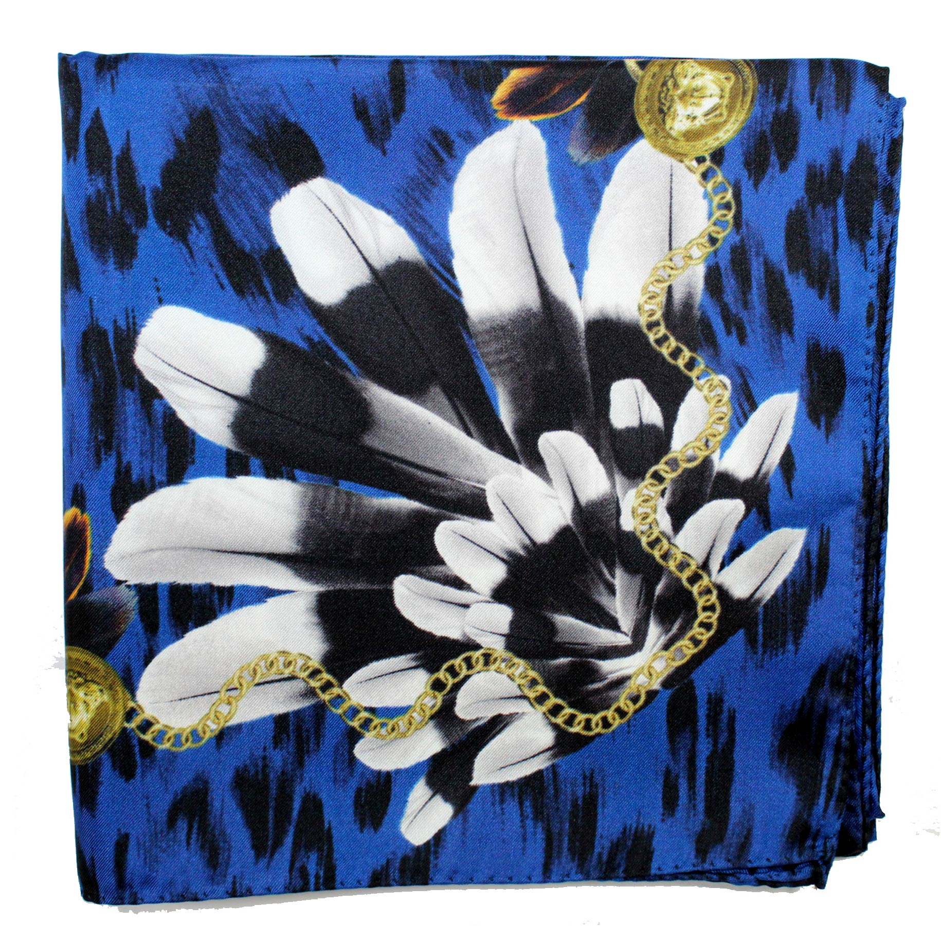 Versace Scarf Royal Blue Feather Headdress Design