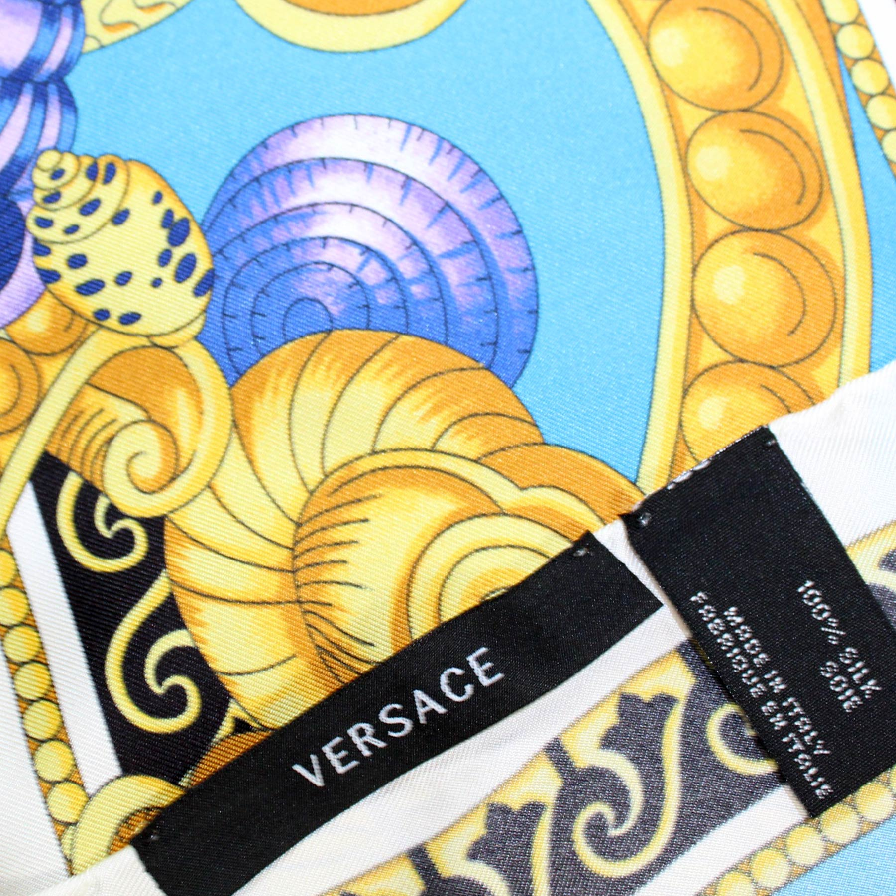 Versace Scarf Blue Gold Original Versace Gift Box Sea- Twill Silk Square Scarf