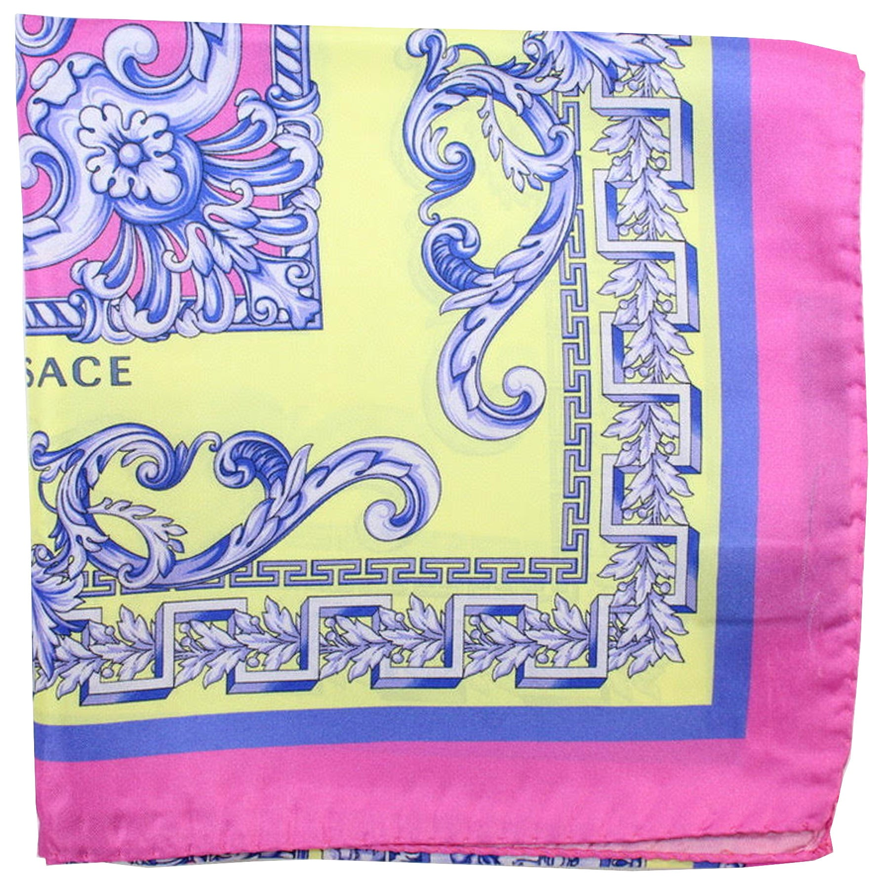 Versace Silk Scarf Pink Yellow Medallions - Large Square Scarf