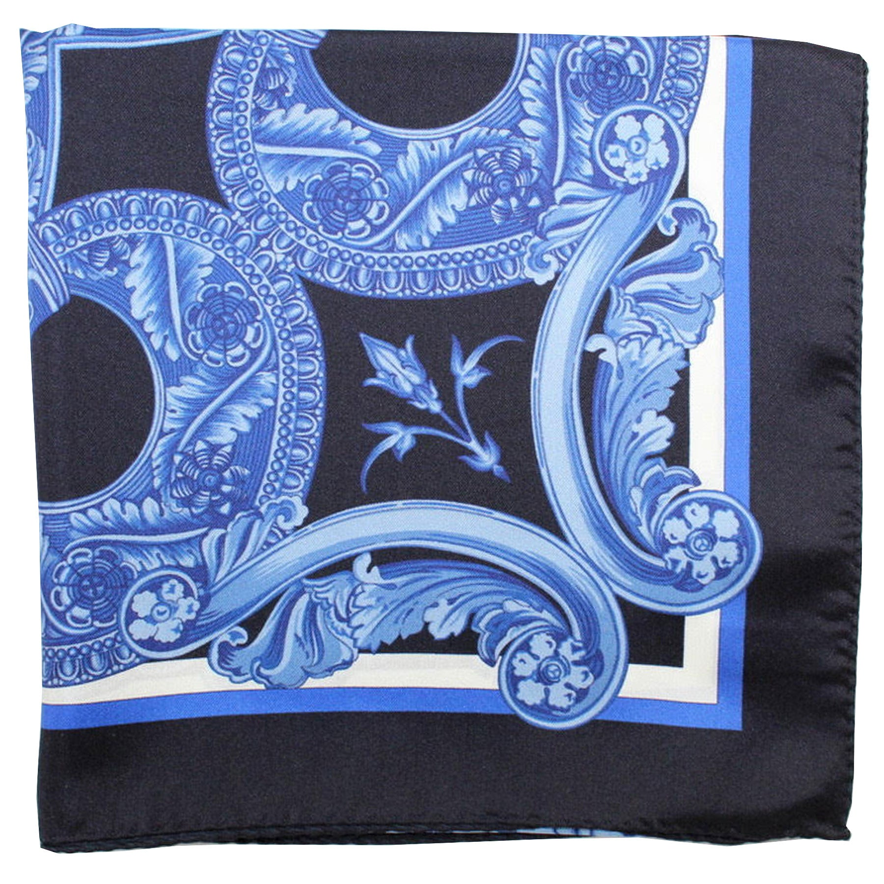 Versace Silk Scarf Navy Blue Baroque & Medusa - Large Square Scarf