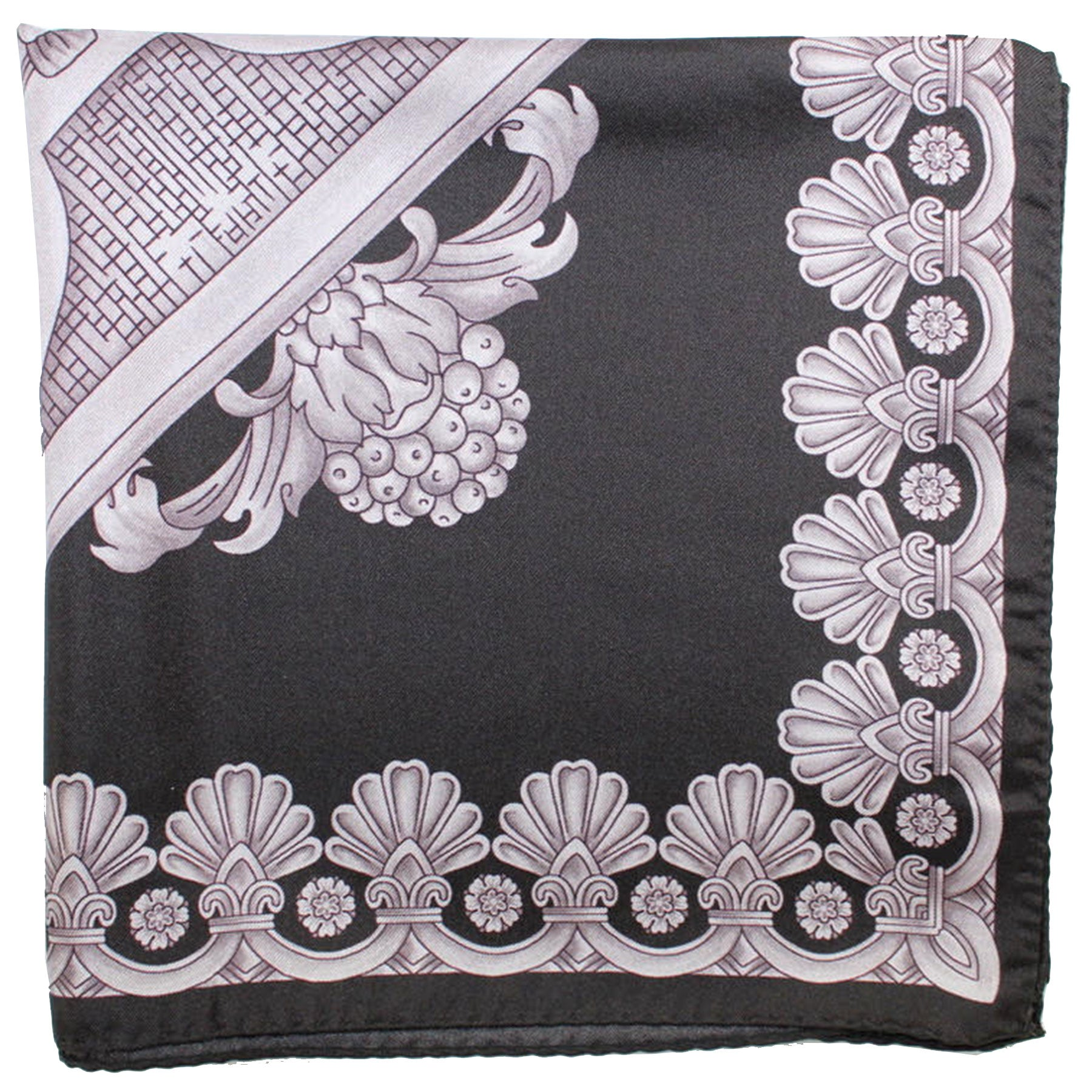 Versace Silk Scarf Black Gray Baroque - Large Square Scarf