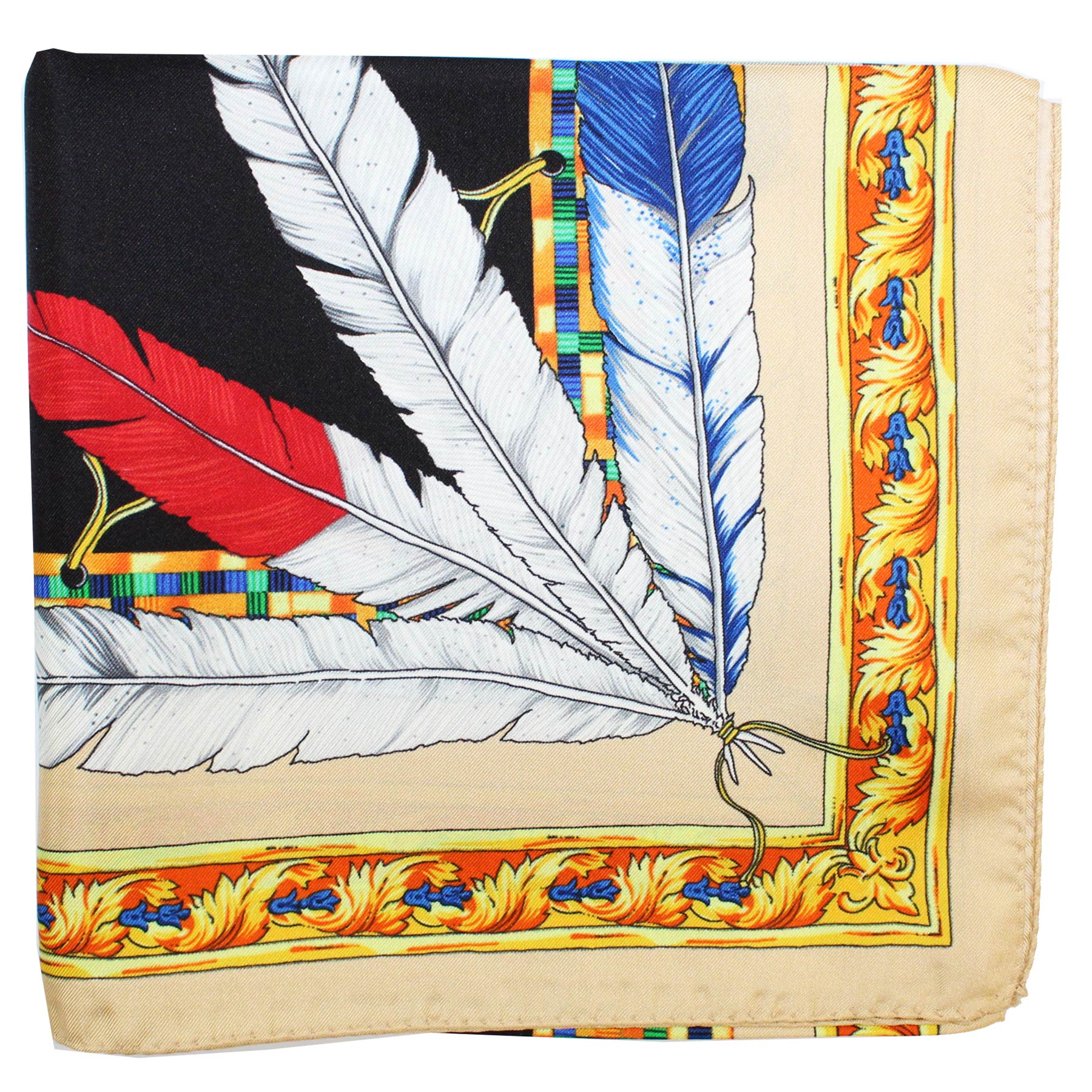 Versace Scarf Feather Headdress Design - Large Twill Silk Square Scarf