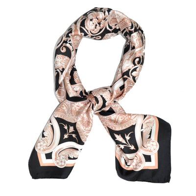 Versace Scarf Black Pink Design Twill Silk Square Scarf