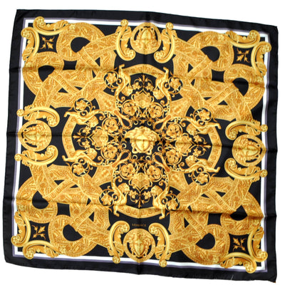 Versace Scarf Black Gold Medusa - Large Twill Silk Square Scarf