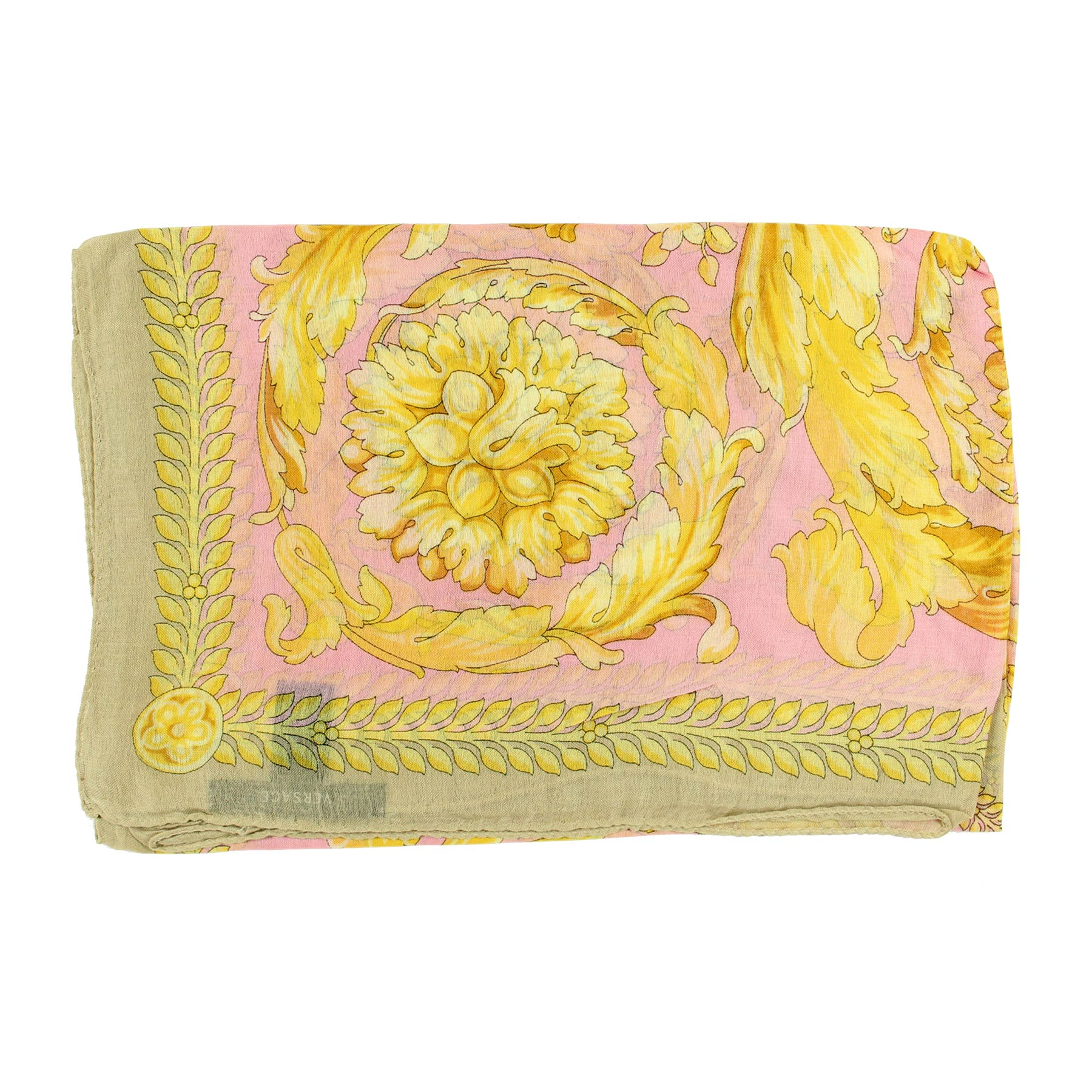 Versace Scarf Pink Taupe Gold Modal Cashmere Extra Large Square Scarf