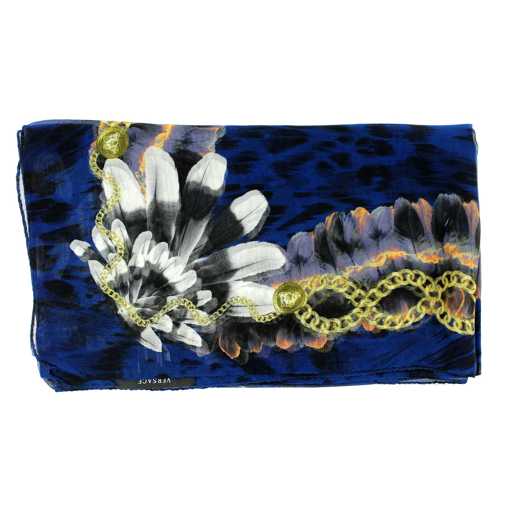 Versace Scarf Midnight Blue Indian Feather Headdress - Chiffon Silk Shawl