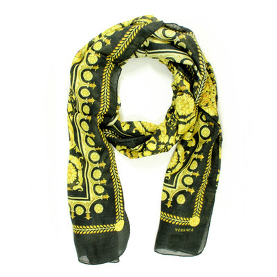 Versace Scarf Black Gold Baroque Print - Modal Cashmere Shawl