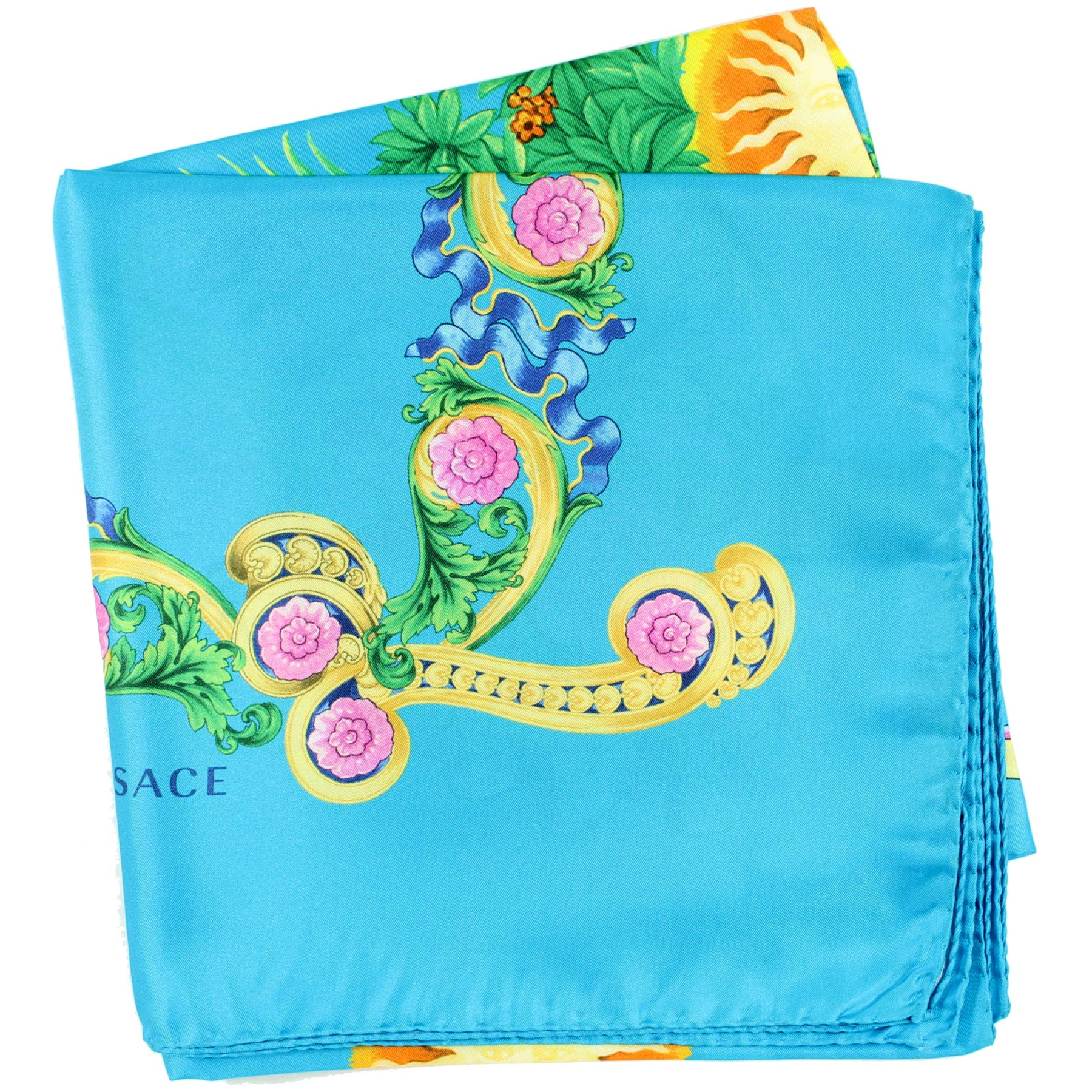 Versace Scarf Aqua Blue Miami Florida USA Design - Twill Silk Square Scarf