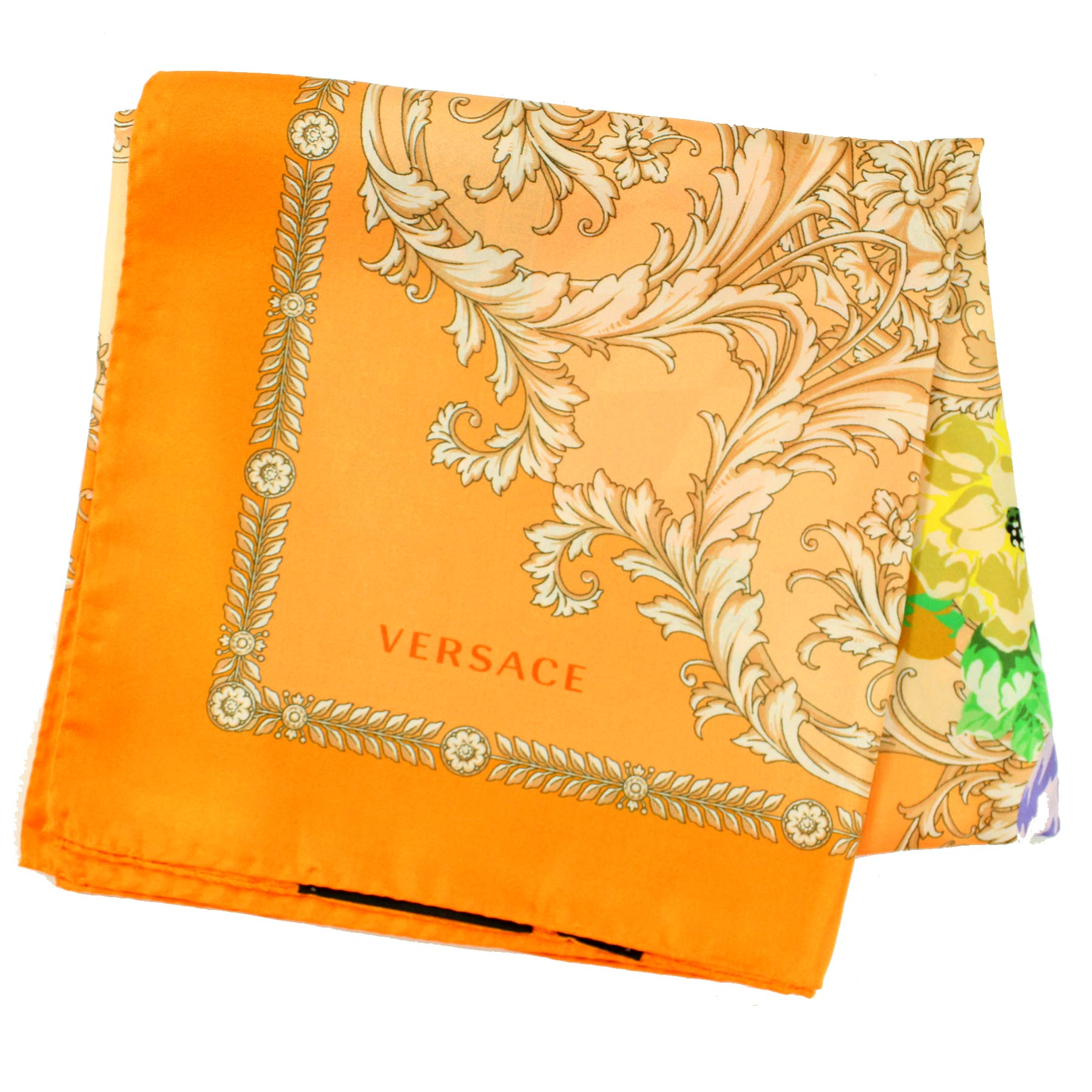 Versace Scarf Peach-Orange Cream Floral New
