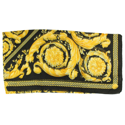 Versace Scarf Black Gold Baroque & Medusa - Modal Cashmere Extra Large Square Scarf SALE