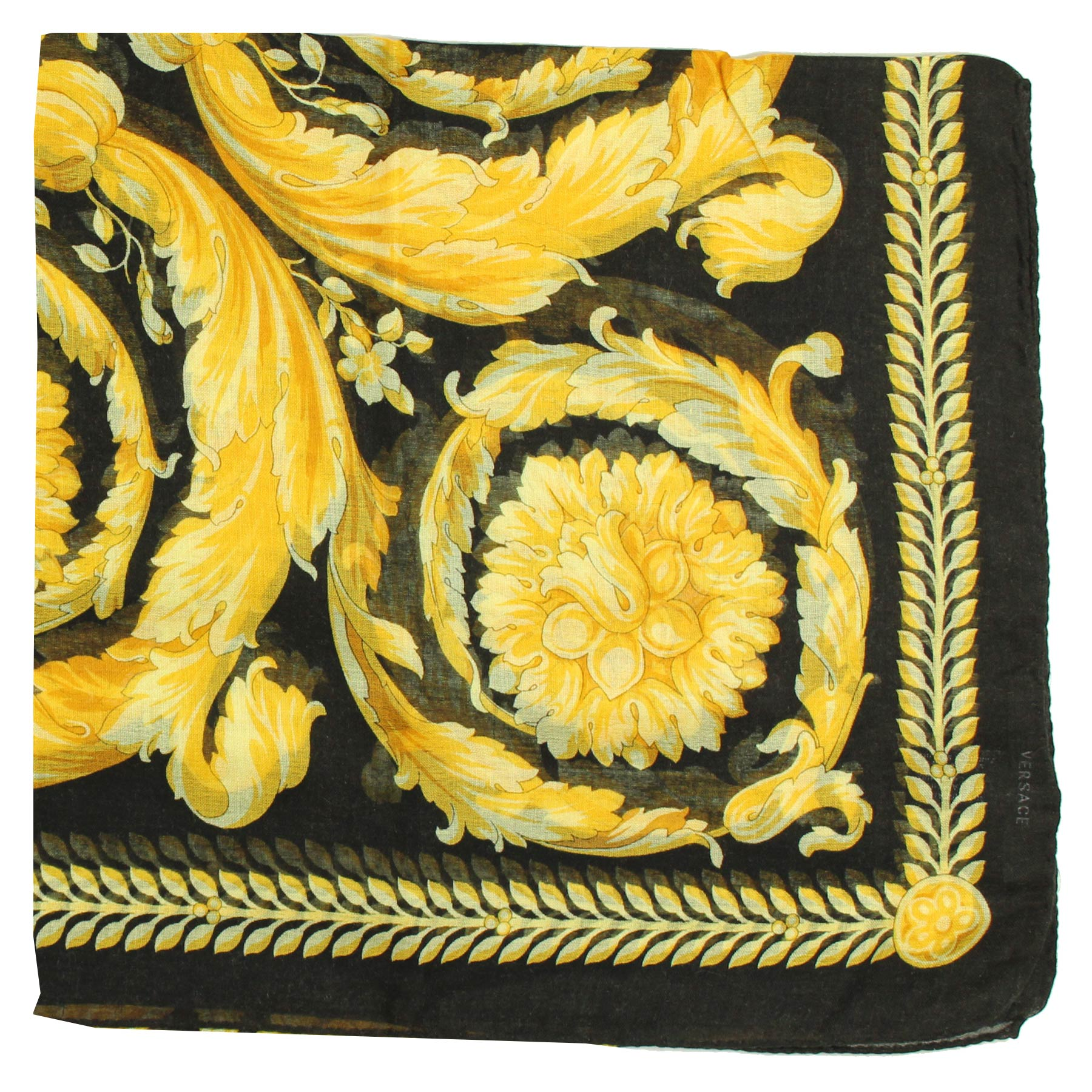New Versace Scarf Black Gold Baroque & Medusa  Cashmere Extra Large Square Scarf