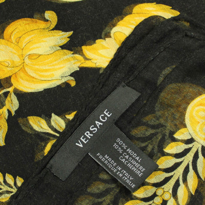 Versace Scarf Black Gold Baroque Medusa - Modal Cashmere Extra Large Square Scarf