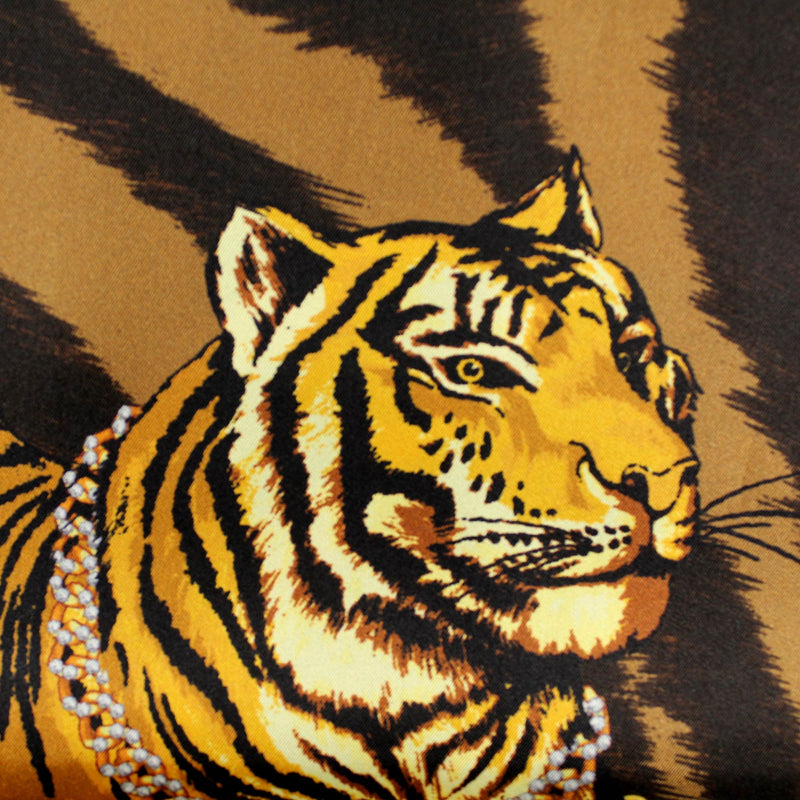 Versace Scarf Black Brown Gold Tiger Baroque Design - Large Twill Silk Square Scarf SALE