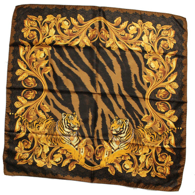 Versace Scarf Black Brown Gold Tiger Design - Twill Silk Square Scarf
