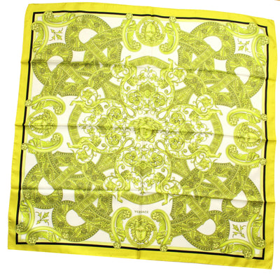 Versace Scarf Lime Baroque & Medusa Design - Large Twill Silk Square Scarf SALE