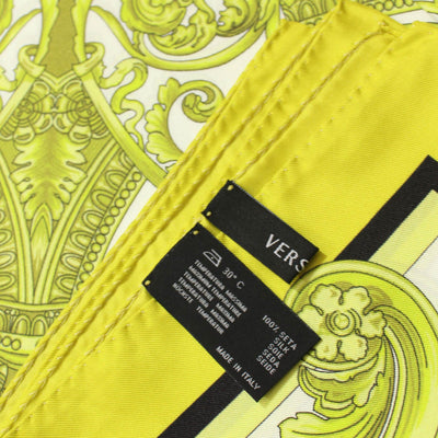 Versace Scarf Lime Medusa Design - Large Twill Silk Square Scarf