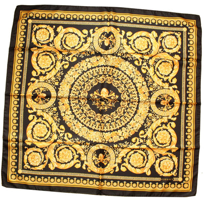 Versace Scarf Black Gold Baroque & Skull New