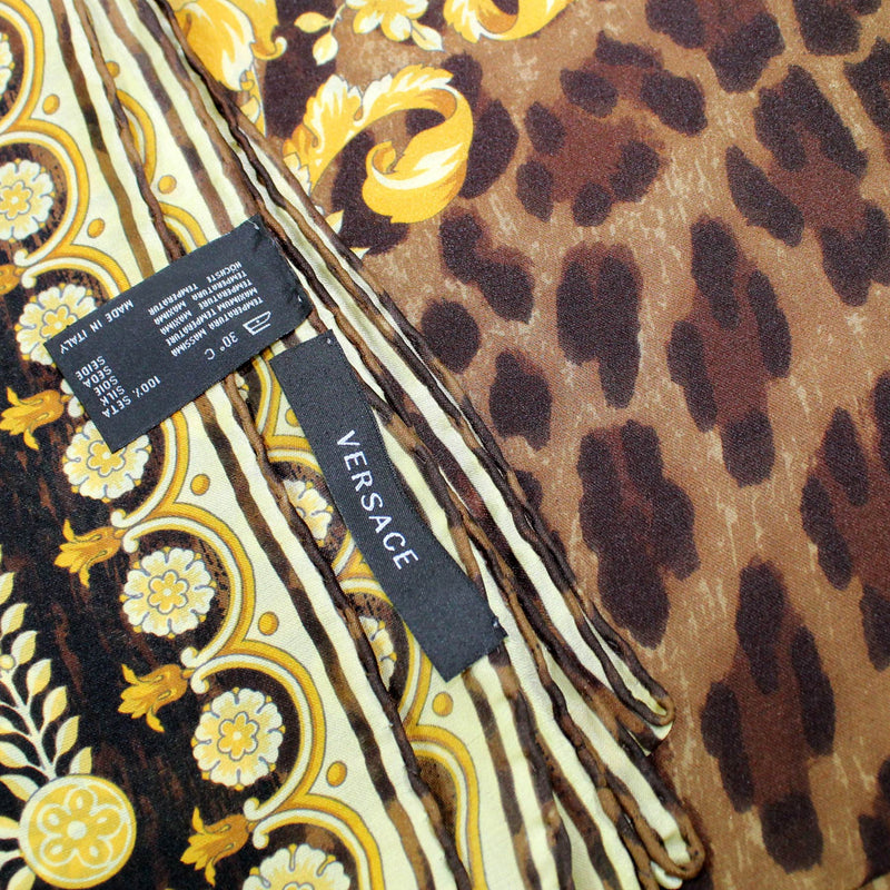 Versace Scarf Black Brown Gold Baroque Panther