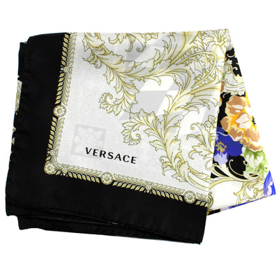 Versace Scarf Floral Design - Large Twill Silk Square Scarf SALE