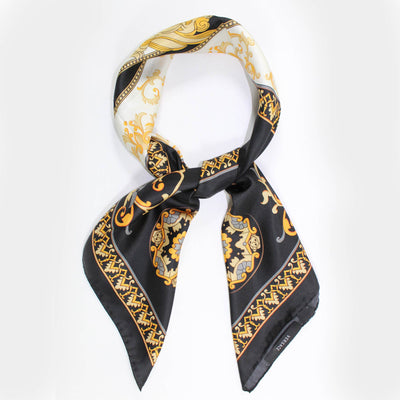 Versace Scarf Black Cream Orange Gray Gold Design - Large Twill Silk Square Scarf