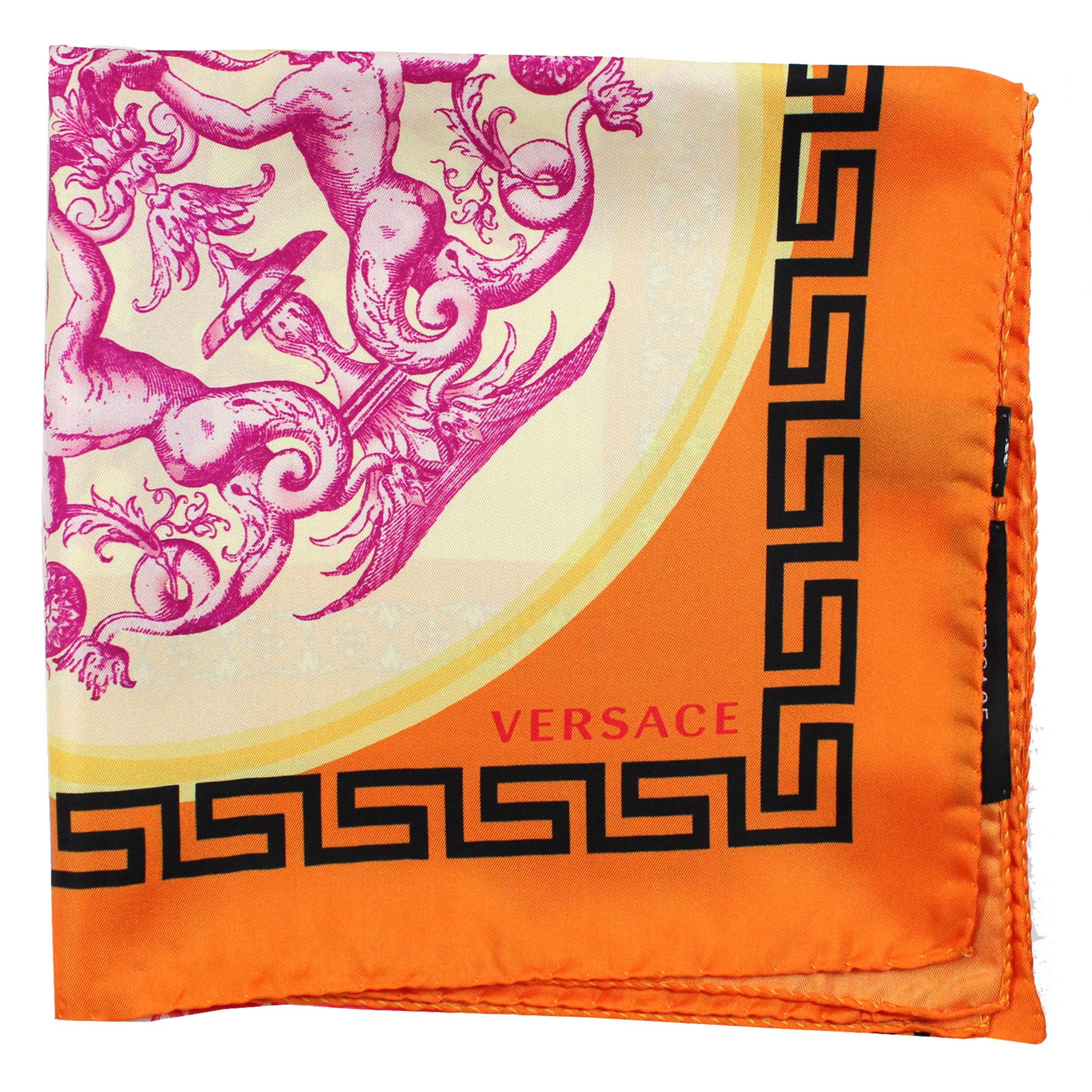 Versace Scarf Orange Fish & Greek Knit - Large Twill Silk Square Scarf SALE